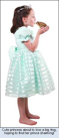 Cute princess about to kiss a big frog, hoping to find her prince charming!
